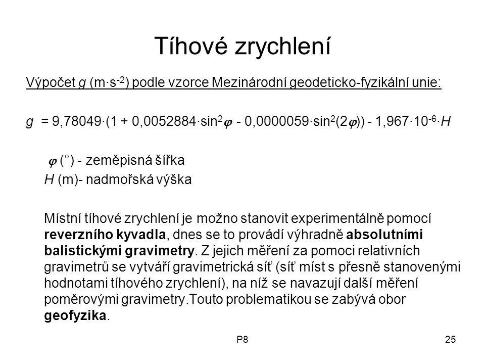 P825 Tíhové zrychlení Výpočet g (m·s -2 ) podle vzorce Mezinárodní geodeticko-fyzikální unie: g = 9,78049·(1 + 0,0052884·sin 2  - 0,0000059·sin 2 (