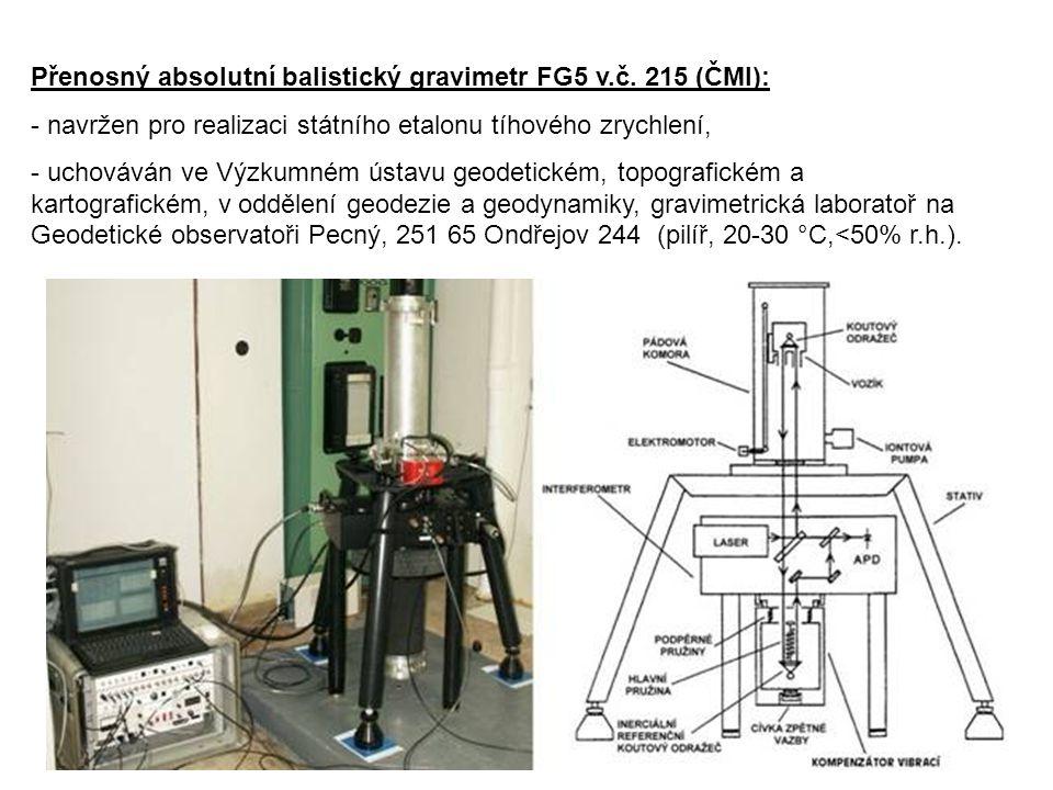 P827 Přenosný absolutní balistický gravimetr FG5 v.č. 215 (ČMI): - navržen pro realizaci státního etalonu tíhového zrychlení, - uchováván ve Výzkumném