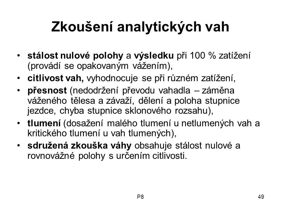 P849 Zkoušení analytických vah stálost nulové polohy a výsledku při 100 % zatížení (provádí se opakovaným vážením), citlivost vah, vyhodnocuje se při