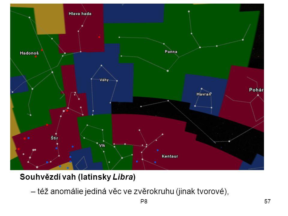 P857 Souhvězdí vah (latinsky Libra) – též anomálie jediná věc ve zvěrokruhu (jinak tvorové),