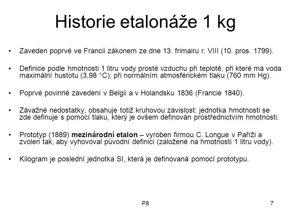 P87 Historie etalonáže 1 kg Zaveden poprvé ve Francii zákonem ze dne 13. frimairu r. VIII (10. pros. 1799). Definice podle hmotnosti 1 litru vody pros