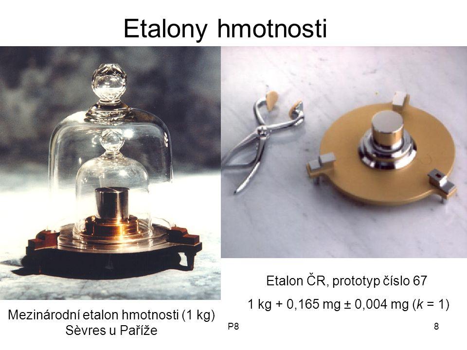 P88 Mezinárodní etalon hmotnosti (1 kg) Sèvres u Paříže Etalon ČR, prototyp číslo 67 1 kg + 0,165 mg ± 0,004 mg (k = 1) Etalony hmotnosti