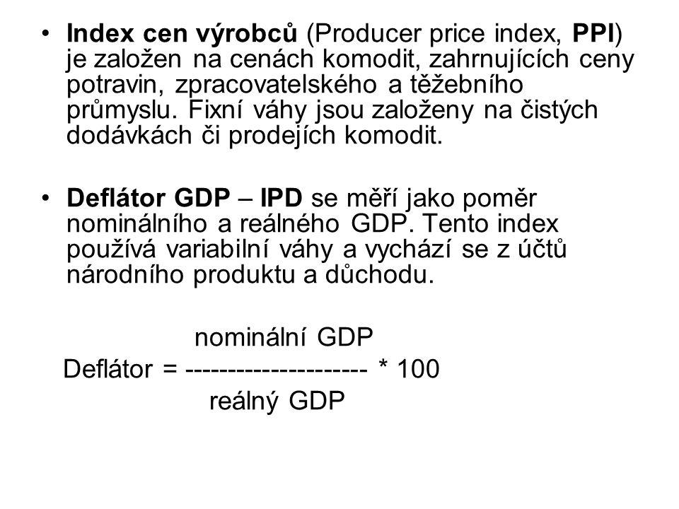 Index cen výrobců (Producer price index, PPI) je založen na cenách komodit, zahrnujících ceny potravin, zpracovatelského a těžebního průmyslu.