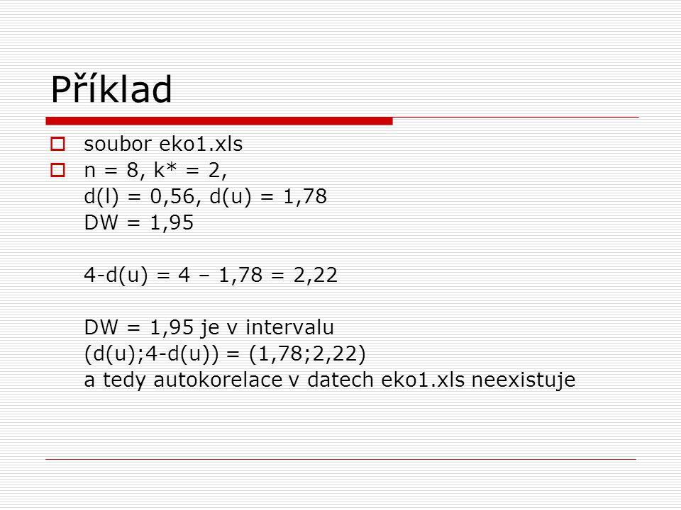 Příklad  soubor eko1.xls  n = 8, k* = 2, d(l) = 0,56, d(u) = 1,78 DW = 1,95 4-d(u) = 4 – 1,78 = 2,22 DW = 1,95 je v intervalu (d(u);4-d(u)) = (1,78;