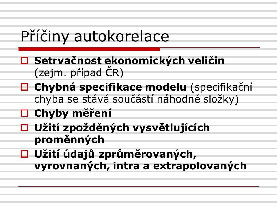 Příčiny autokorelace  Setrvačnost ekonomických veličin (zejm. případ ČR)  Chybná specifikace modelu (specifikační chyba se stává součástí náhodné sl
