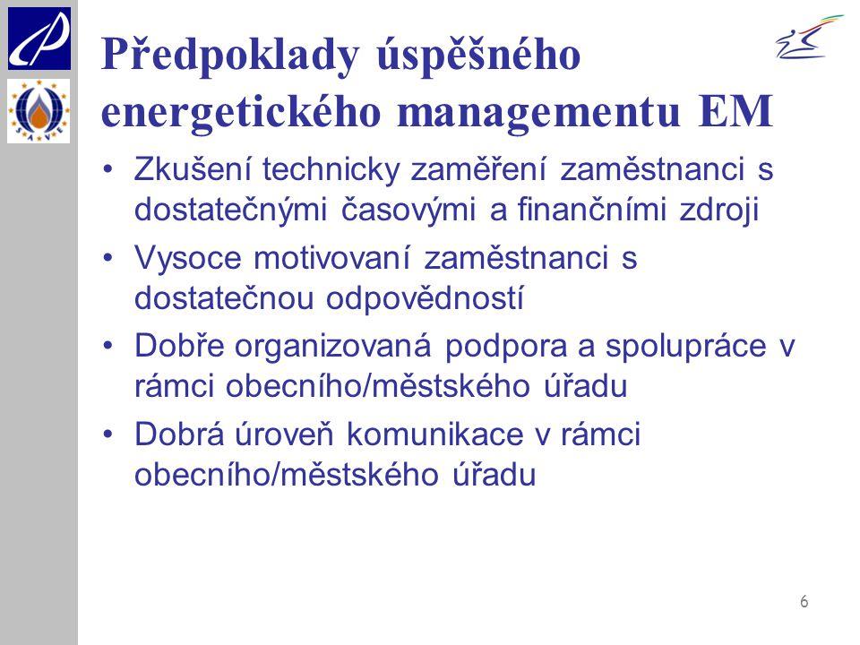 6 Předpoklady úspěšného energetického managementu EM Zkušení technicky zaměření zaměstnanci s dostatečnými časovými a finančními zdroji Vysoce motivov