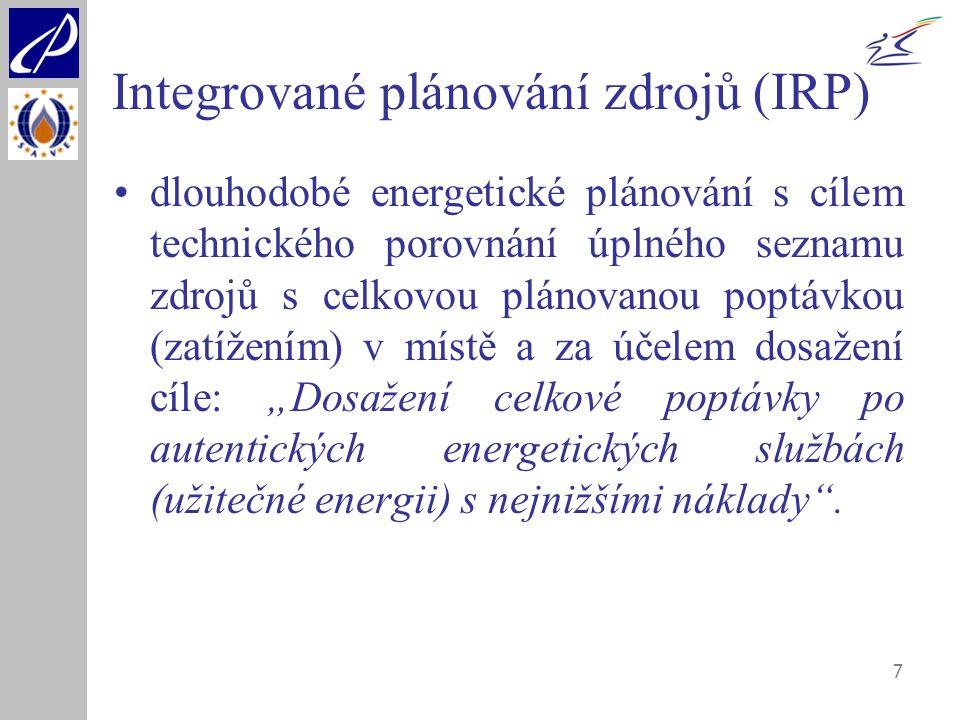 7 Integrované plánování zdrojů (IRP) dlouhodobé energetické plánování s cílem technického porovnání úplného seznamu zdrojů s celkovou plánovanou poptá