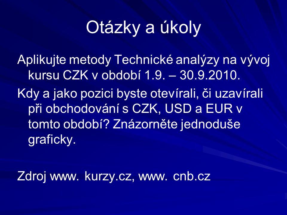 Otázky a úkoly Aplikujte metody Technické analýzy na vývoj kursu CZK v období 1.9.