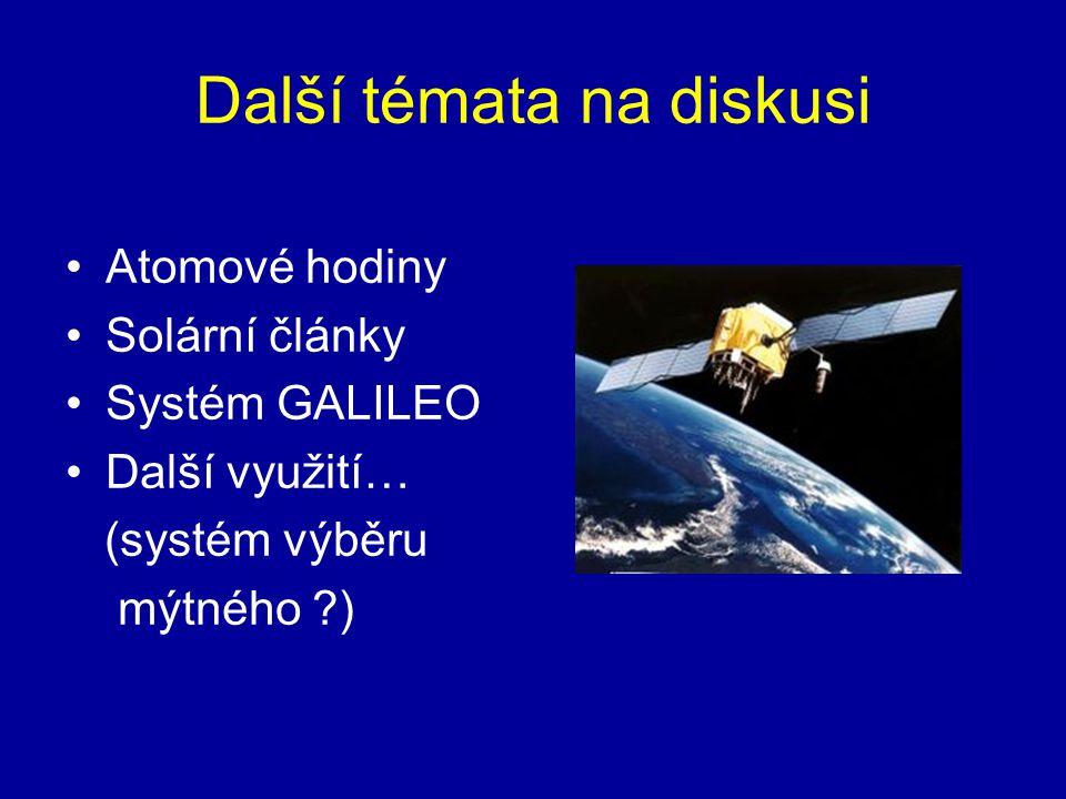 Další témata na diskusi Atomové hodiny Solární články Systém GALILEO Další využití… (systém výběru mýtného ?)