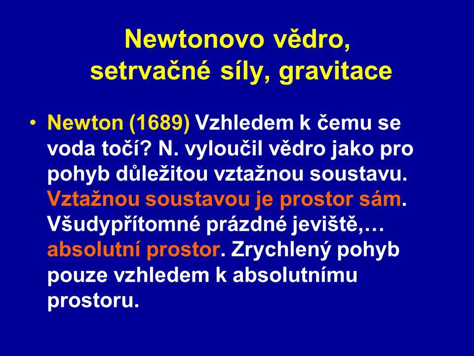 Newtonovo vědro, setrvačné síly, gravitace Mach (1883?) Odstředivé síly (obecně setrvačné síly) vznikají při zrychleném pohybu vzhledem ke vzdáleným hvězdám, odstředivé síly pocházejí ze společného přispění celé hmoty vesmíru.