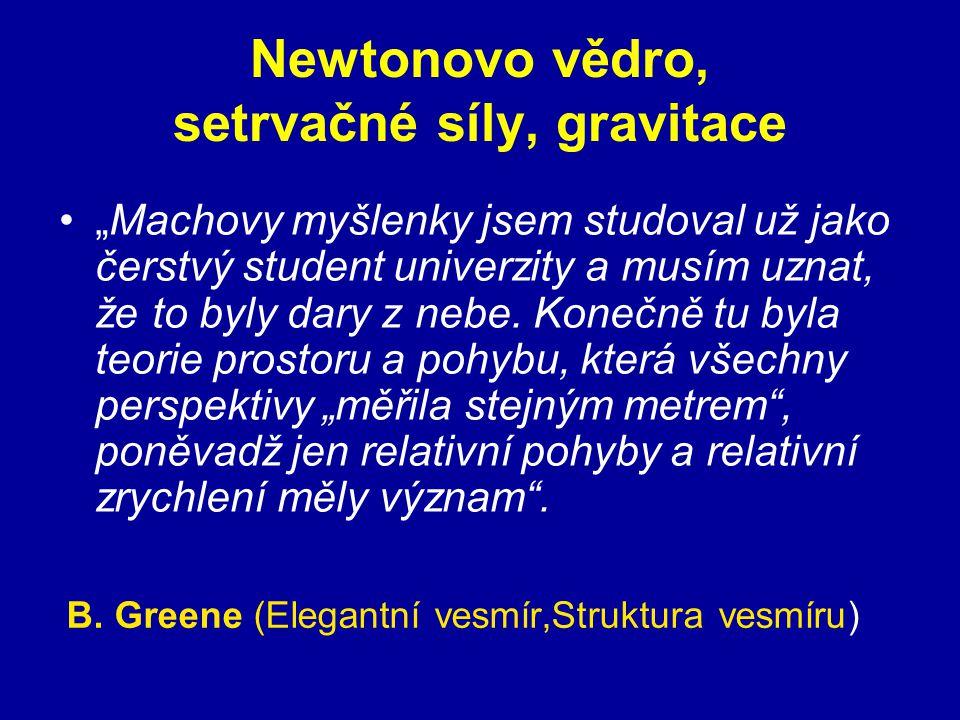"""Newtonovo vědro, setrvačné síly, gravitace """"Machovy myšlenky jsem studoval už jako čerstvý student univerzity a musím uznat, že to byly dary z nebe. K"""