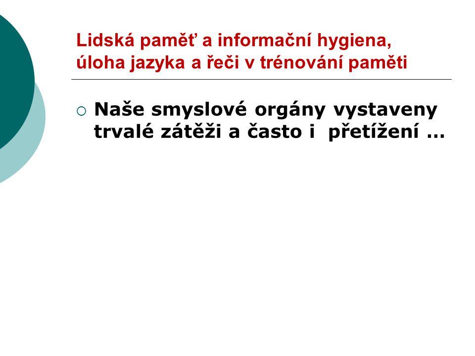 Lidská paměť a informační hygiena, úloha jazyka a řeči v trénování paměti  Tj.