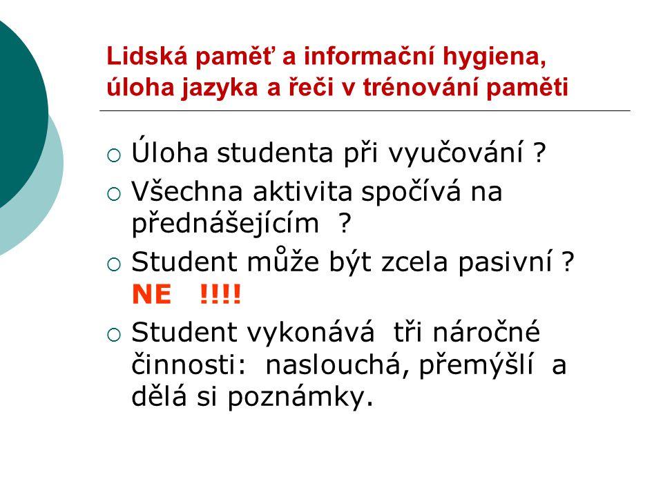 Lidská paměť a informační hygiena, úloha jazyka a řeči v trénování paměti  Úloha studenta při vyučování .