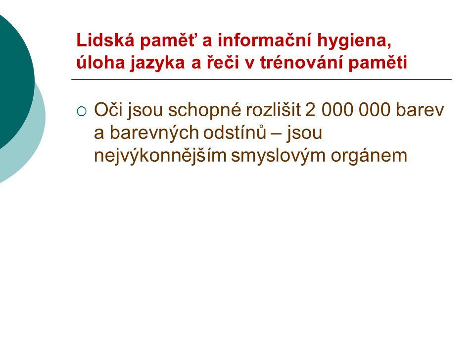 Lidská paměť a informační hygiena, úloha jazyka a řeči v trénování paměti  Kolaps .