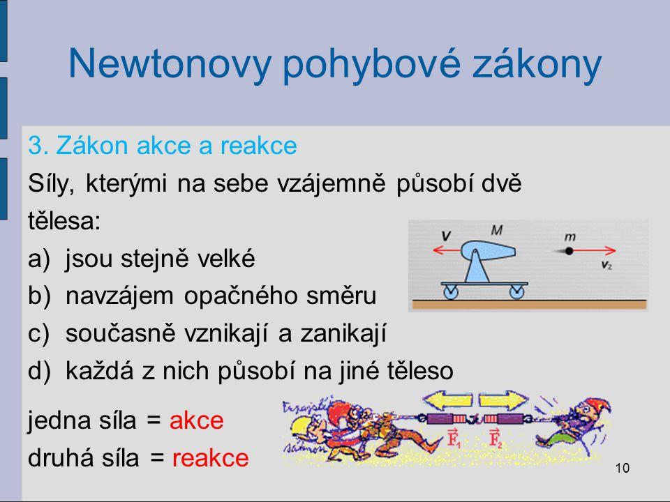 Newtonovy pohybové zákony 3. Zákon akce a reakce Síly, kterými na sebe vzájemně působí dvě tělesa: a)jsou stejně velké b)navzájem opačného směru c)sou