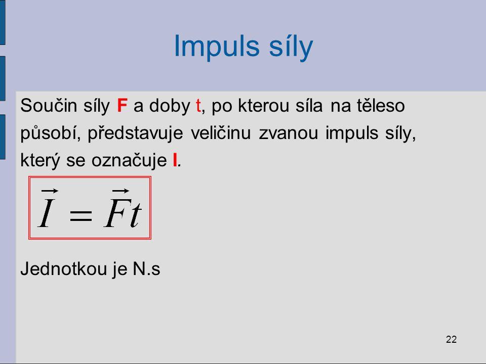 Impuls síly Součin síly F a doby t, po kterou síla na těleso působí, představuje veličinu zvanou impuls síly, který se označuje I. Jednotkou je N.s 22
