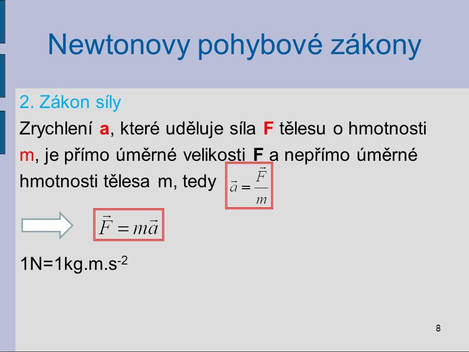 Newtonovy pohybové zákony 2. Zákon síly Zrychlení a, které uděluje síla F tělesu o hmotnosti m, je přímo úměrné velikosti F a nepřímo úměrné hmotnosti