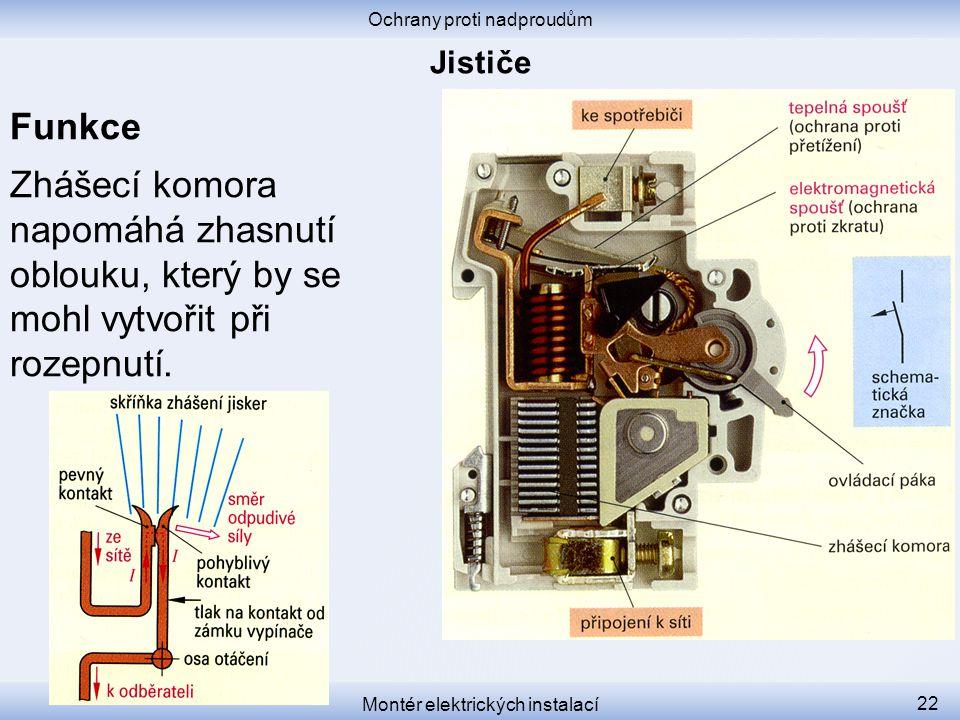 Funkce Zhášecí komora napomáhá zhasnutí oblouku, který by se mohl vytvořit při rozepnutí. Ochrany proti nadproudům Montér elektrických instalací 22