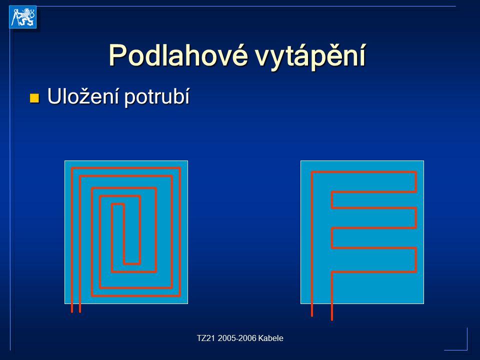 TZ21 2005-2006 Kabele Podlahové vytápění Uložení potrubí Uložení potrubí