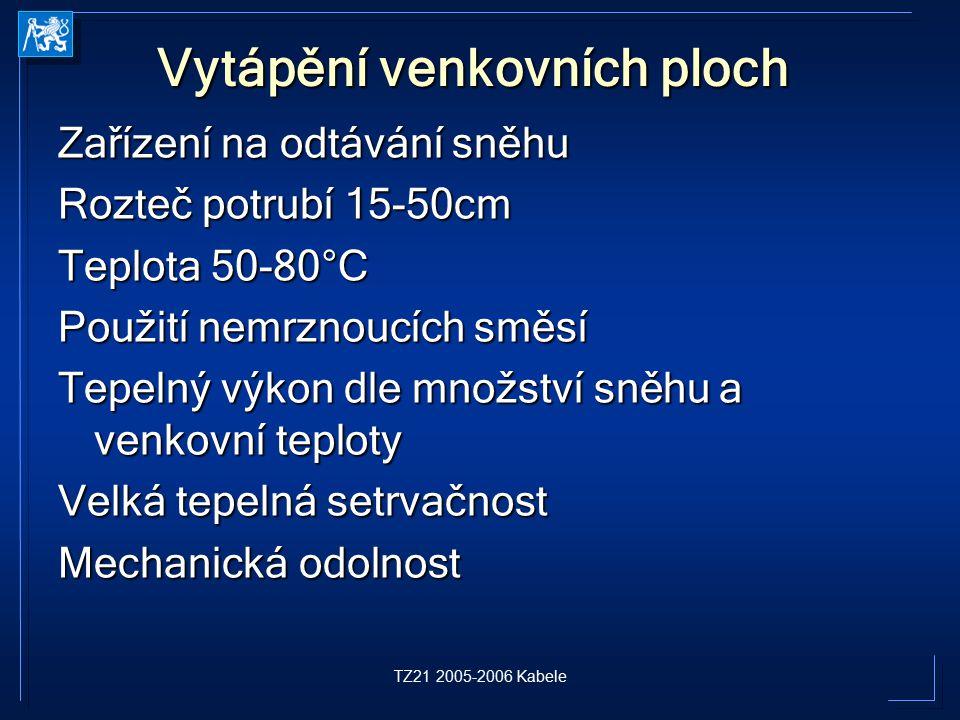 TZ21 2005-2006 Kabele Vytápění venkovních ploch Zařízení na odtávání sněhu Rozteč potrubí 15-50cm Teplota 50-80°C Použití nemrznoucích směsí Tepelný v