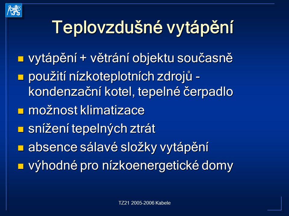 TZ21 2005-2006 Kabele Teplovzdušné vytápění vytápění + větrání objektu současně vytápění + větrání objektu současně použití nízkoteplotních zdrojů - k