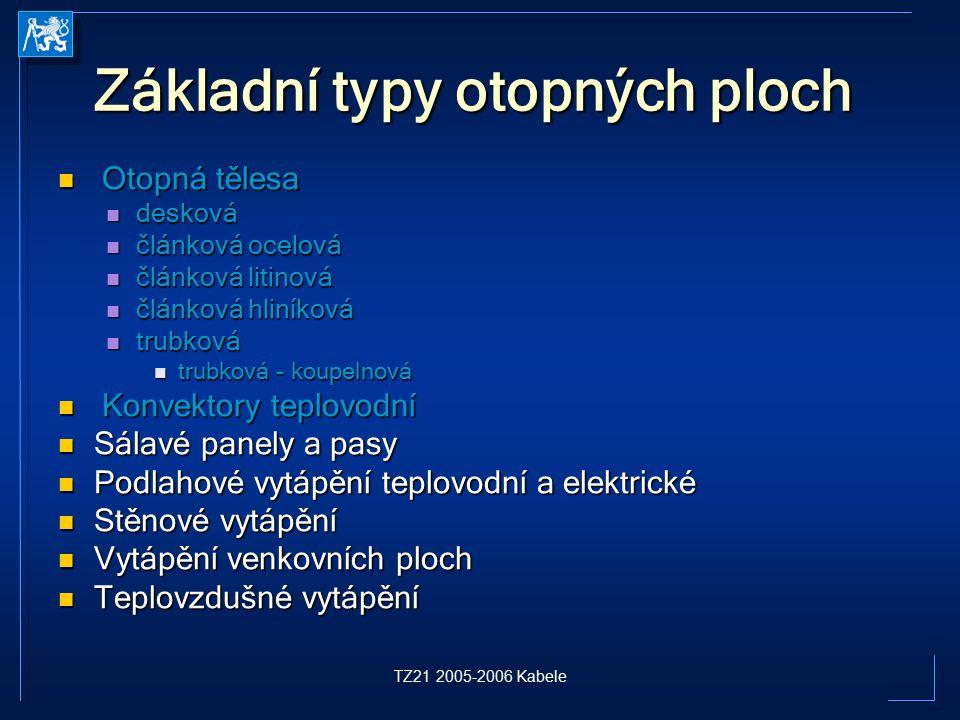 TZ21 2005-2006 Kabele Základní typy otopných ploch Otopná tělesa Otopná tělesa desková desková článková ocelová článková ocelová článková litinová člá