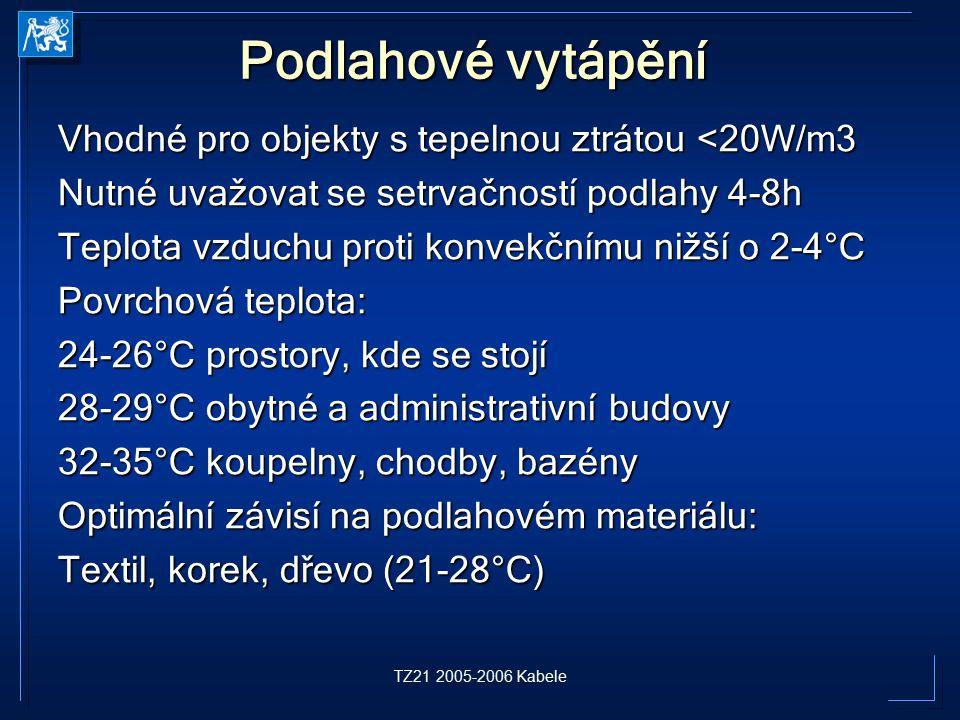 TZ21 2005-2006 Kabele Podlahové vytápění Vhodné pro objekty s tepelnou ztrátou <20W/m3 Nutné uvažovat se setrvačností podlahy 4-8h Teplota vzduchu pro