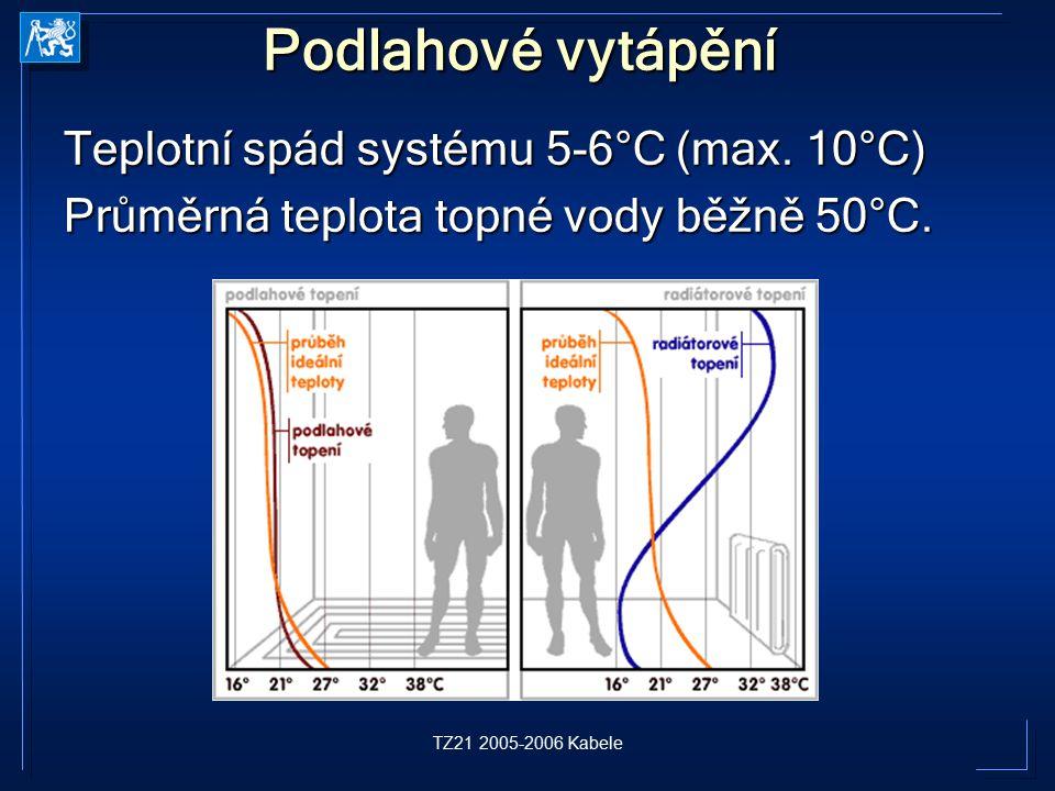TZ21 2005-2006 Kabele Podlahové vytápění Teplotní spád systému 5-6°C (max. 10°C) Průměrná teplota topné vody běžně 50°C.
