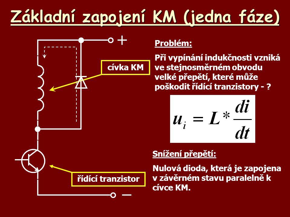 Základní zapojení KM (jedna fáze) cívka KM řídící tranzistor Snížení přepětí: Nulová dioda, která je zapojena v závěrném stavu paralelně k cívce KM. P