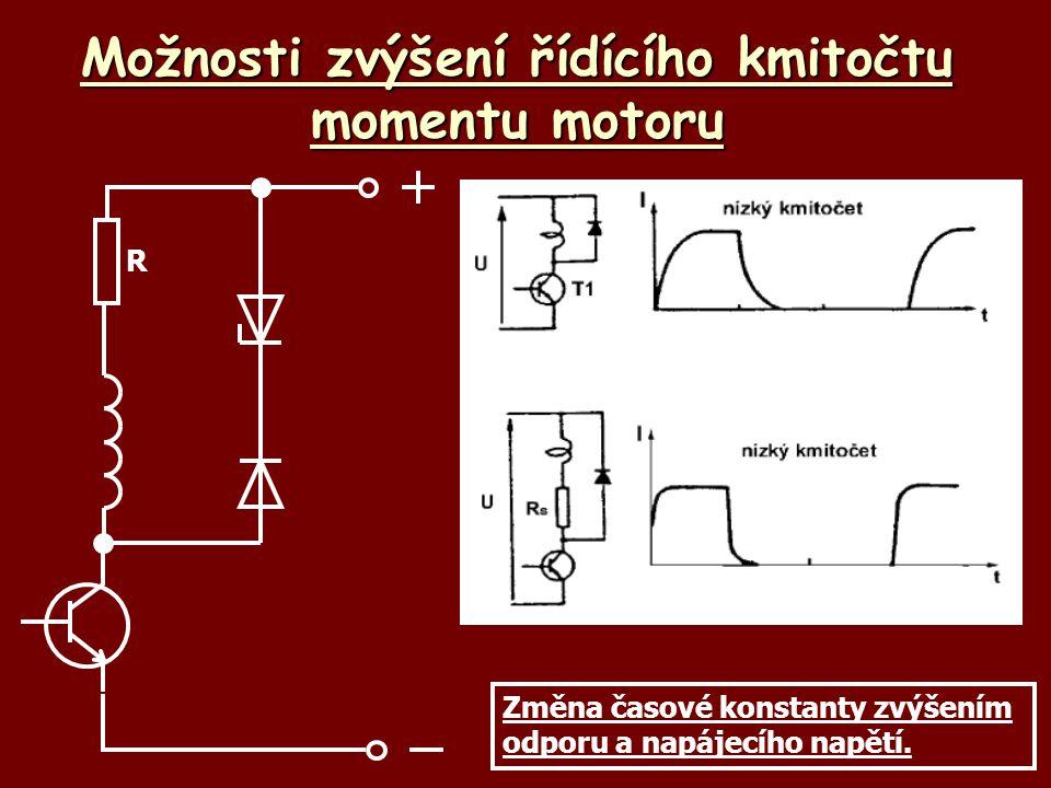 Možnosti zvýšení řídícího kmitočtu momentu motoru R Změna časové konstanty zvýšením odporu a napájecího napětí.