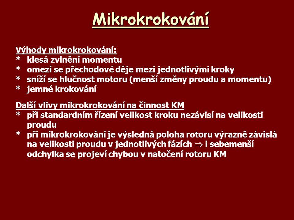 Mikrokrokování Výhody mikrokrokování: *klesá zvlnění momentu *omezí se přechodové děje mezi jednotlivými kroky *sníží se hlučnost motoru (menší změny