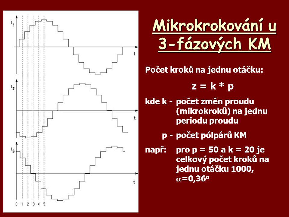 Mikrokrokování u 3-fázových KM Počet kroků na jednu otáčku: z = k * p kdek -počet změn proudu (mikrokroků) na jednu periodu proudu p -počet pólpárů KM