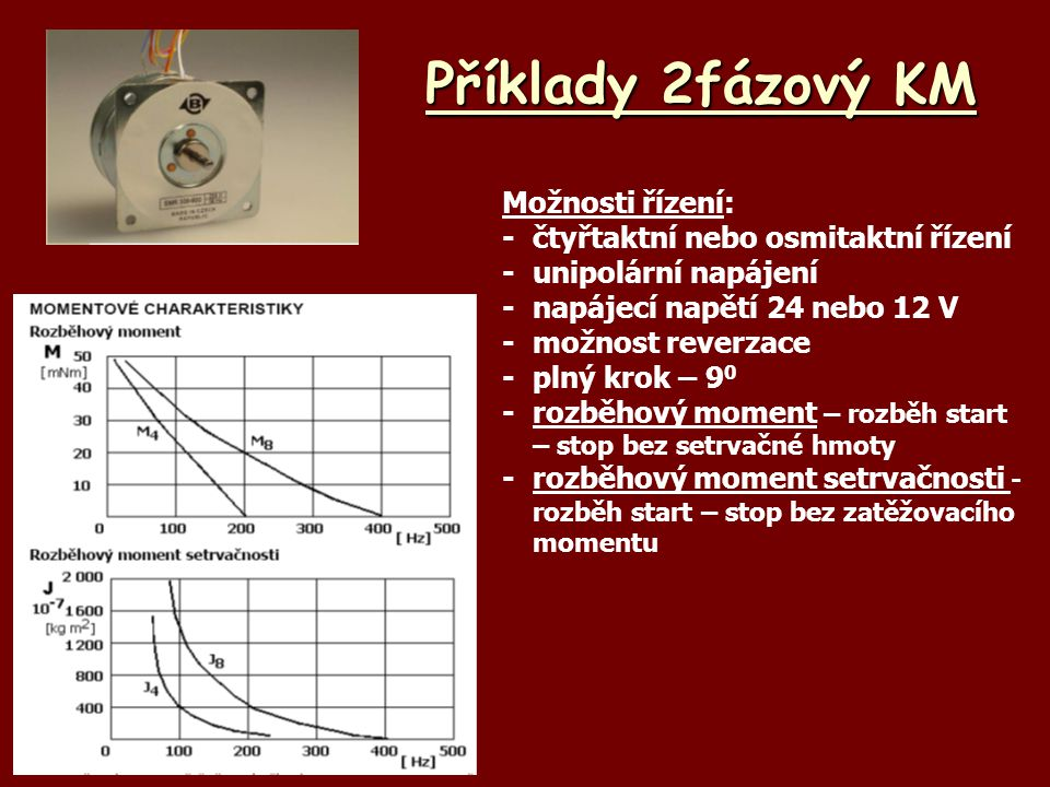 Příklady 2fázový KM Možnosti řízení: - čtyřtaktní nebo osmitaktní řízení -unipolární napájení -napájecí napětí 24 nebo 12 V -možnost reverzace -plný k