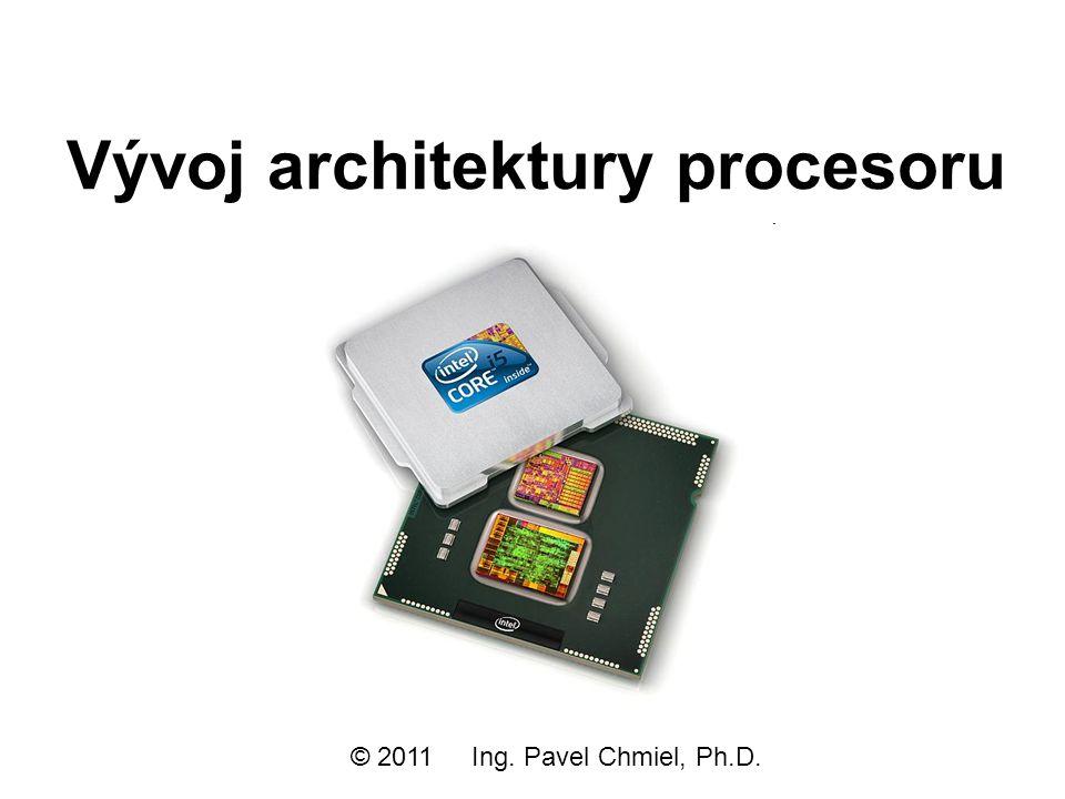 Nehalem architektura CPU Více fyzických procesorových jader - typicky 2 jádra (i3), 4 jádra (i5, i7), 6 jader (Xeon) QPI procesorová sběrnice Severní most (MCH)