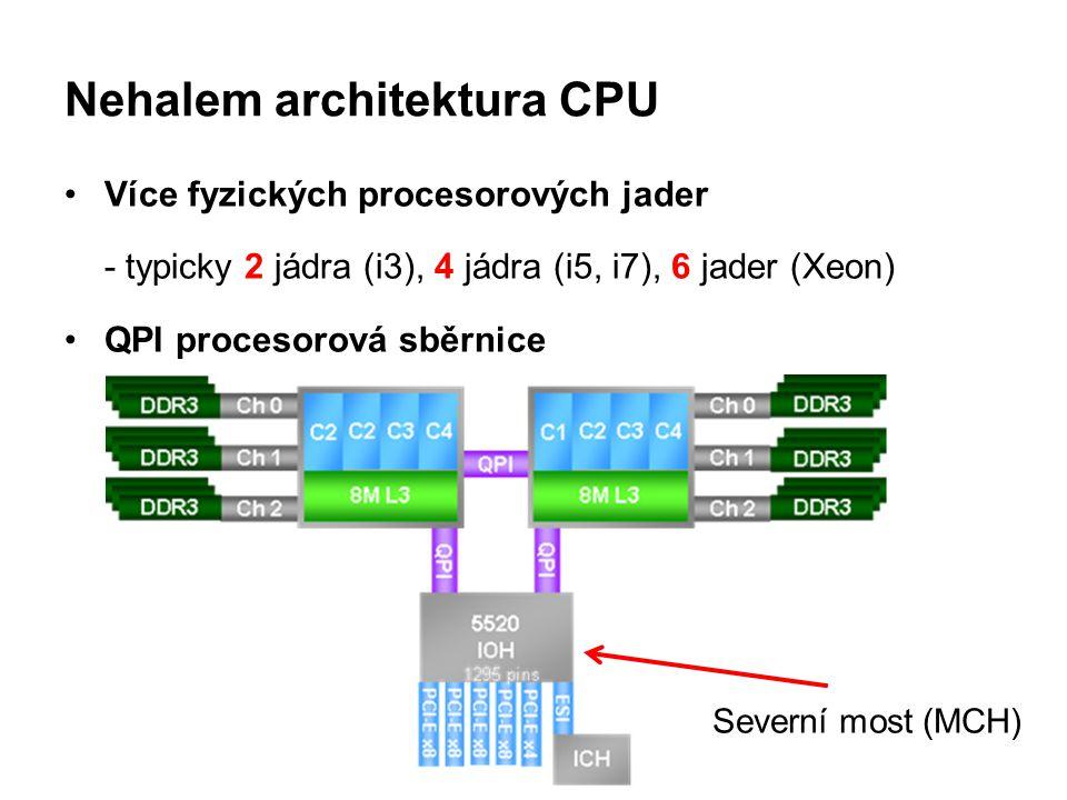 Nehalem architektura CPU Více fyzických procesorových jader - typicky 2 jádra (i3), 4 jádra (i5, i7), 6 jader (Xeon) QPI procesorová sběrnice Severní