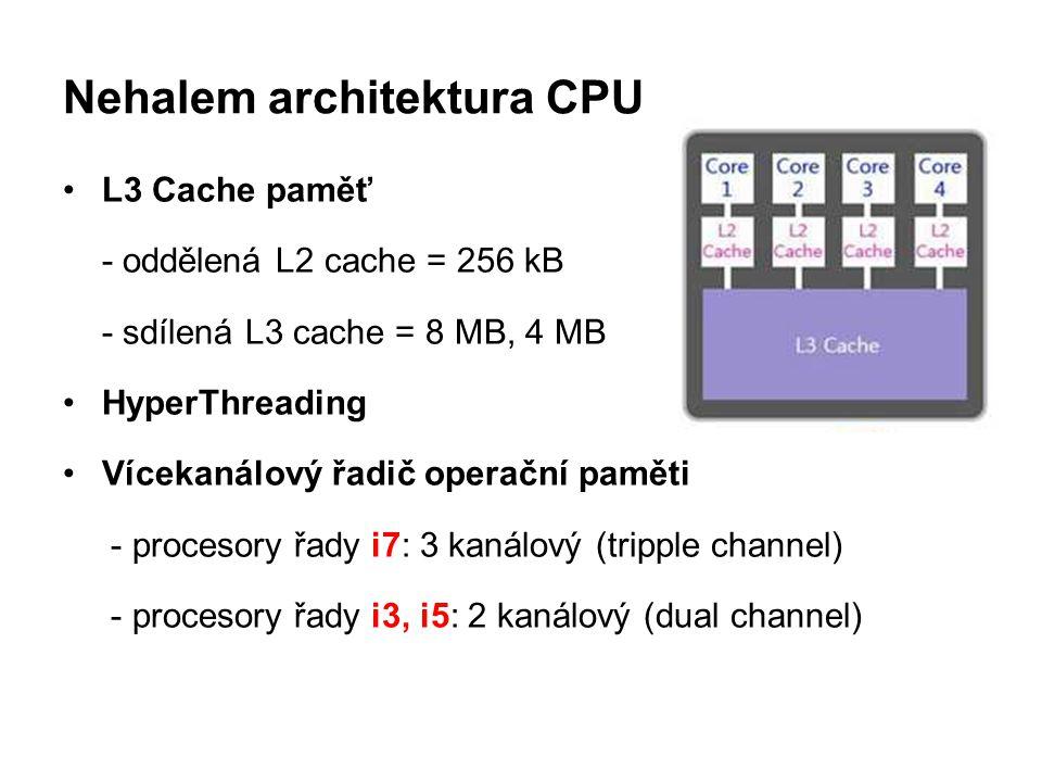 Nehalem architektura CPU L3 Cache paměť - oddělená L2 cache = 256 kB - sdílená L3 cache = 8 MB, 4 MB HyperThreading Vícekanálový řadič operační paměti