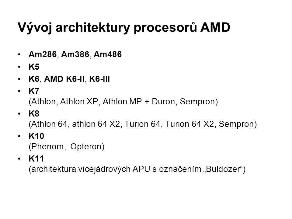 Vývoj architektury procesorů AMD Am286, Am386, Am486 K5 K6, AMD K6-II, K6-III K7 (Athlon, Athlon XP, Athlon MP + Duron, Sempron) K8 (Athlon 64, athlon