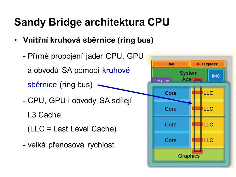 Sandy Bridge architektura CPU Vnitřní kruhová sběrnice (ring bus) - Přímé propojení jader CPU, GPU a obvodů SA pomocí kruhové sběrnice (ring bus) - CP