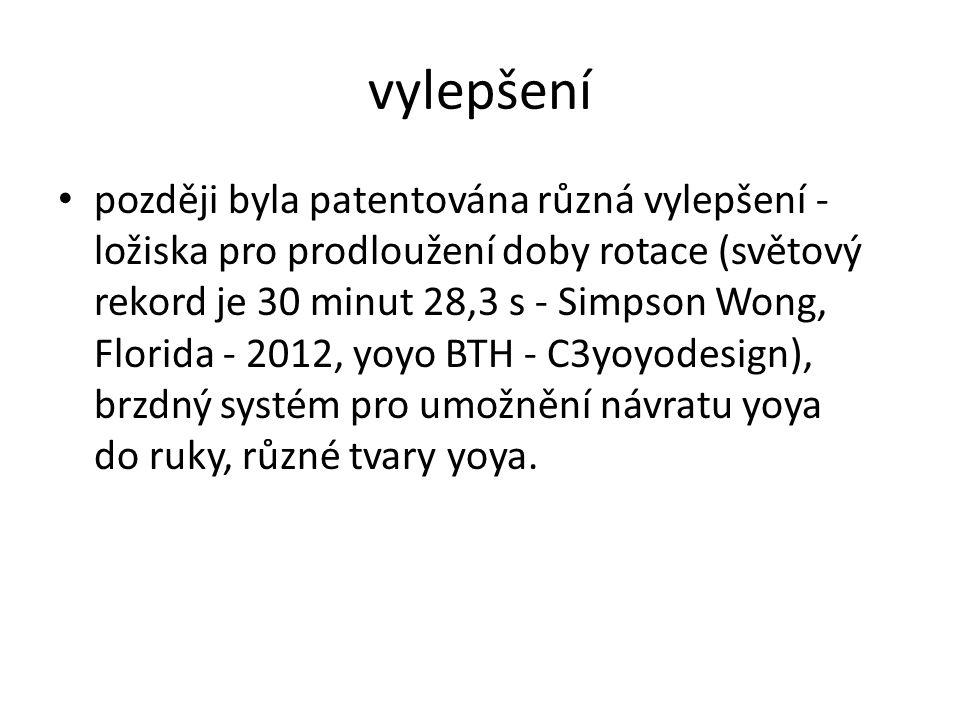 později byla patentována různá vylepšení - ložiska pro prodloužení doby rotace (světový rekord je 30 minut 28,3 s - Simpson Wong, Florida - 2012, yoyo BTH - C3yoyodesign), brzdný systém pro umožnění návratu yoya do ruky, různé tvary yoya.