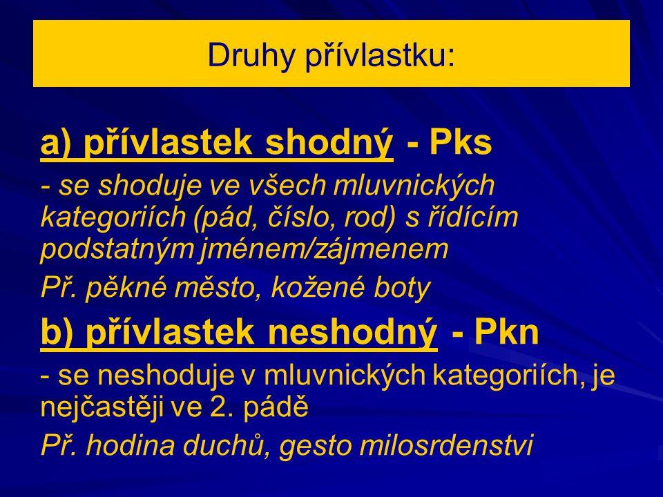 Druhy přívlastku: a) přívlastek shodný - Pks - se shoduje ve všech mluvnických kategoriích (pád, číslo, rod) s řídícím podstatným jménem/zájmenem Př.