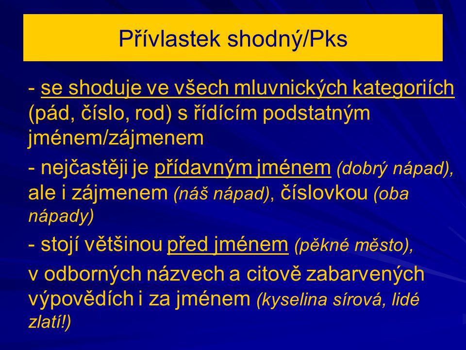 Přívlastek shodný/Pks - se shoduje ve všech mluvnických kategoriích (pád, číslo, rod) s řídícím podstatným jménem/zájmenem - nejčastěji je přídavným j