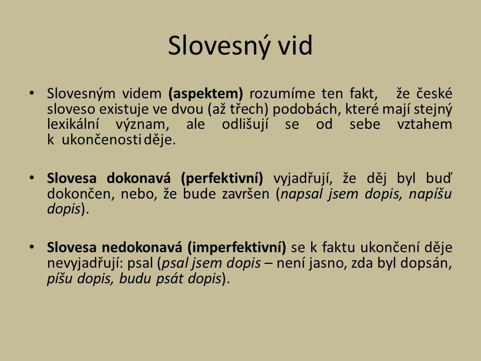 Slovesným videm (aspektem) rozumíme ten fakt, že české sloveso existuje ve dvou (až třech) podobách, které mají stejný lexikální význam, ale odlišují