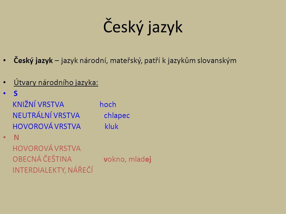ČEŠTINA – typ: Flektivní jazyk (skloňování jmen, časování sloves, stupňování adjektiv a adverbií).