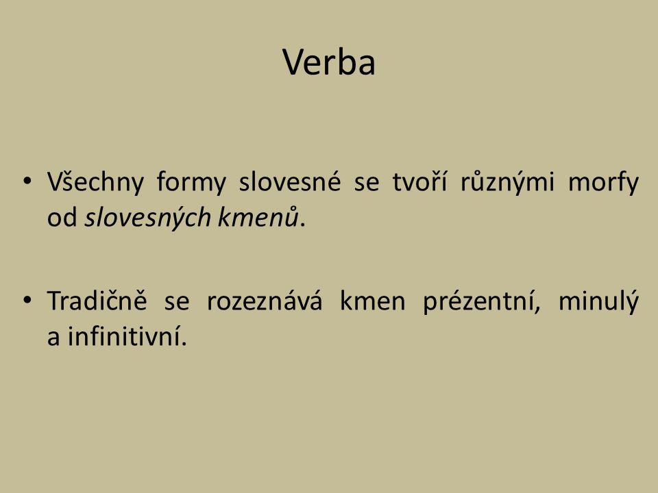 Verba Všechny formy slovesné se tvoří různými morfy od slovesných kmenů. Tradičně se rozeznává kmen prézentní, minulý a infinitivní.