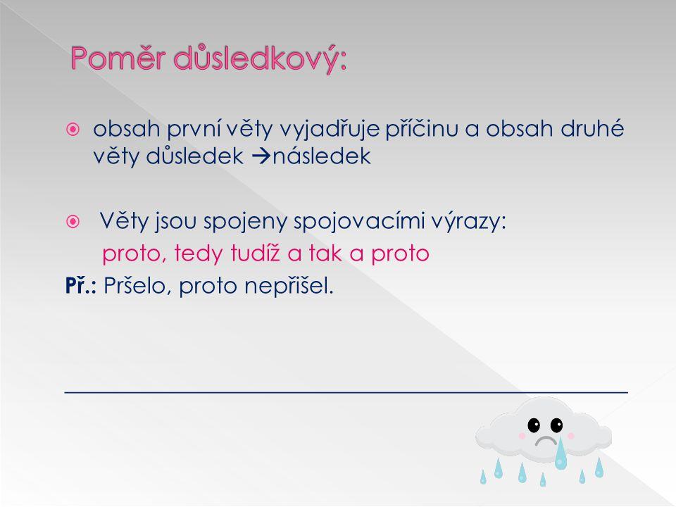  první věta vyjadřuje důsledek, vyjadřuje druhá příčinu  Věty jsou spojeny spojovacími výrazy: neboť, vždyť, totiž Př.:Nepřišel, neboť pršelo.