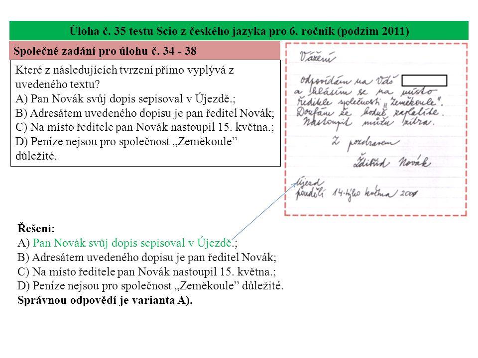 Úloha č.35 testu Scio z českého jazyka pro 6.