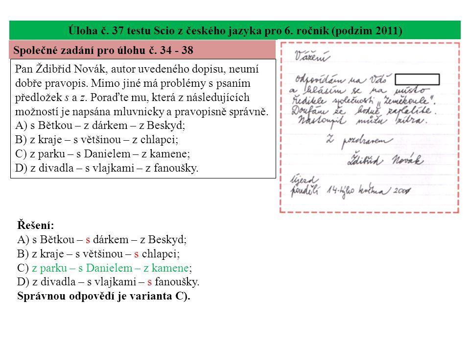 Úloha č. 37 testu Scio z českého jazyka pro 6.