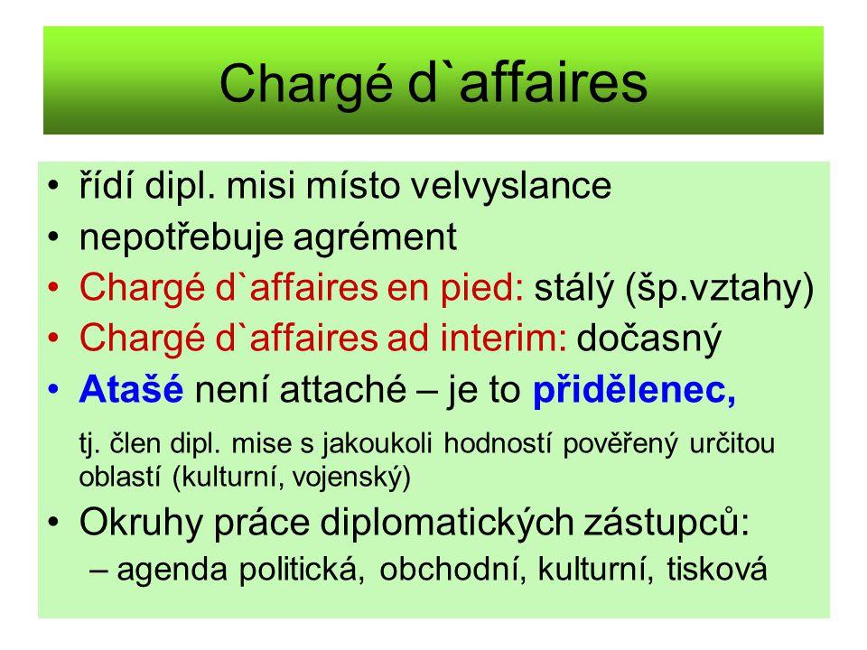 Chargé d`affaires řídí dipl. misi místo velvyslance nepotřebuje agrément Chargé d`affaires en pied: stálý (šp.vztahy) Chargé d`affaires ad interim: do