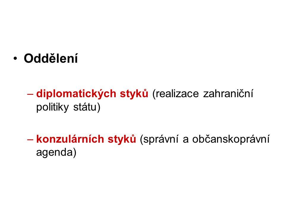Oddělení –diplomatických styků (realizace zahraniční politiky státu) –konzulárních styků (správní a občanskoprávní agenda)