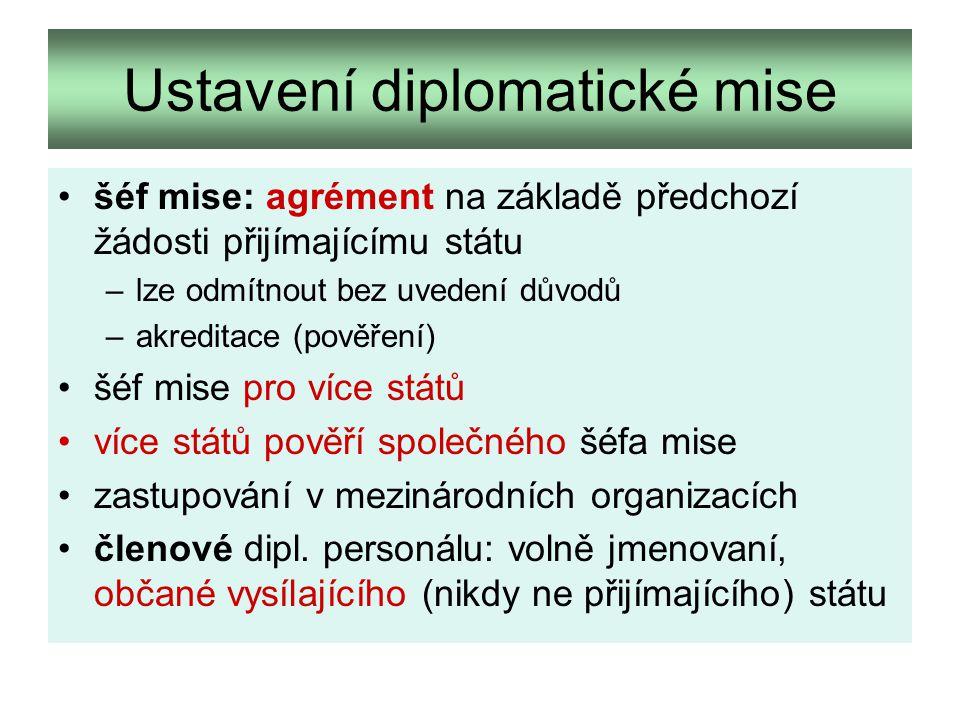Ustavení diplomatické mise šéf mise: agrément na základě předchozí žádosti přijímajícímu státu –lze odmítnout bez uvedení důvodů –akreditace (pověření